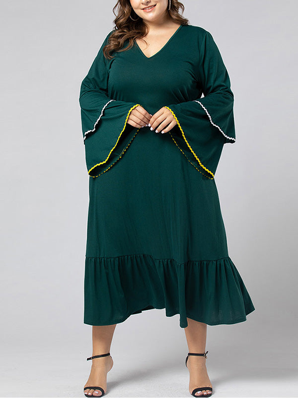 Roots You V-neck Plus Size Ruffle Dress