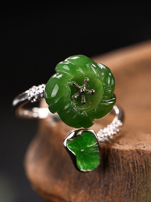 Claudia Silver Jade Leaf Flower Open Ring