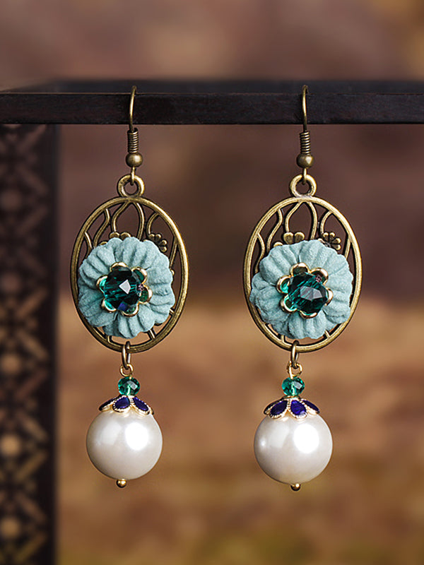 Flower Drop Pearl Earrings
