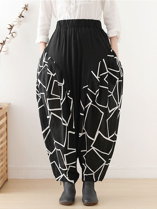 Geometric Patterns Printing Harem Pants