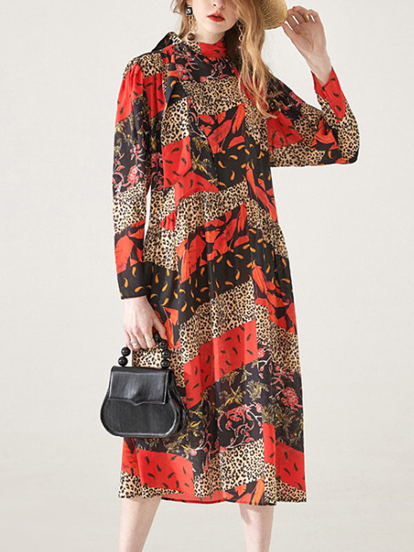 Abby Leopard Prints Drawstring Mulberry Silk Midi Dress