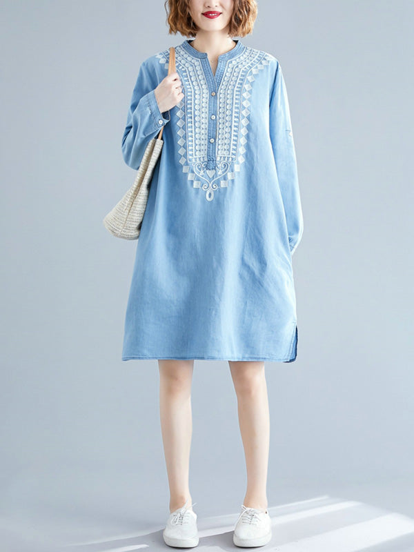 Beyond Words Embroidered Cotton Tunic Top