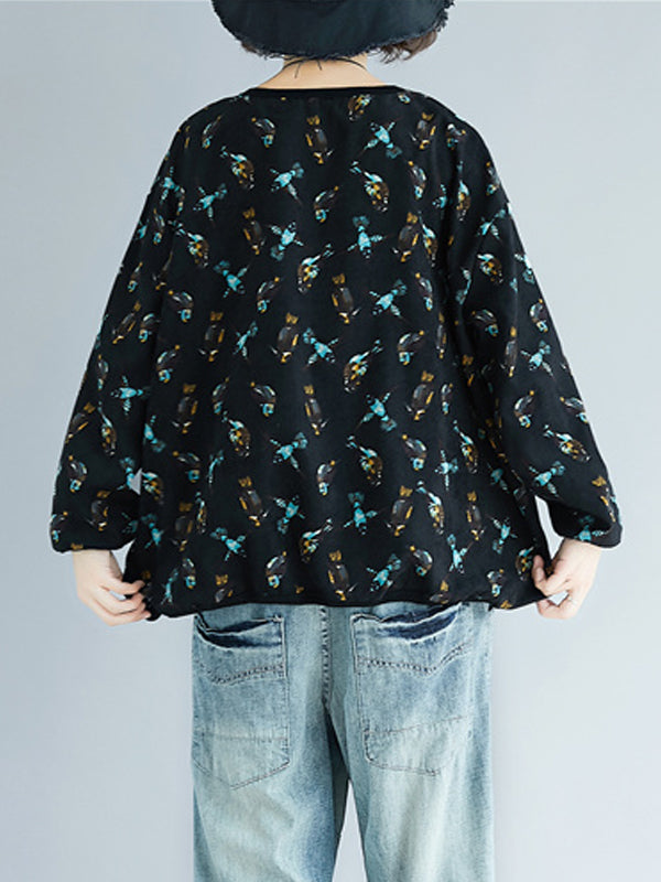 Corduroy Top with Birdy Prints