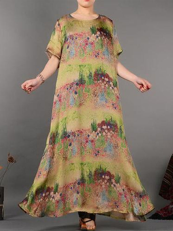 Spring Field Silk Tent Dress