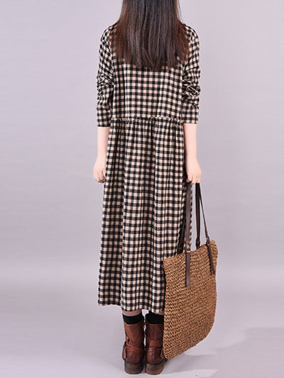Abarrane Polo Collar Plaid Prints Buttoned Shirt Dress