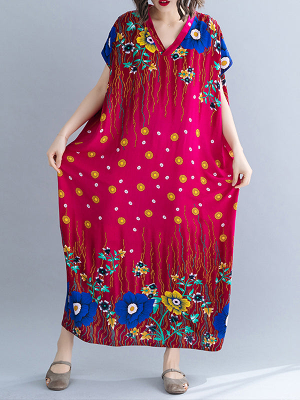 Tropical Chevron Vibrant Color Plus Size Kaftan Dress