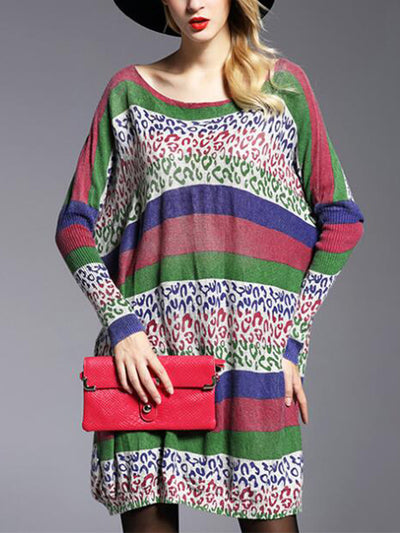 Guadalupe Contrasting Color Pullover Sweatshirt with Stripes Prints