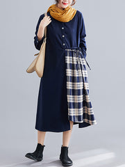 Be My Guest Plaid Border Cotton Midi Dress