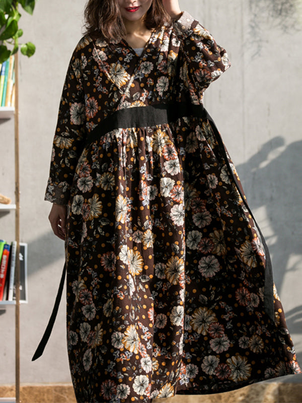 Susanne Contrasting Floral Print Belted Smock Dress with Pleated Collar