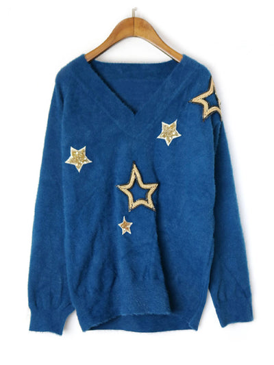 Obviously Edgy Star Embroidered Sweater Top
