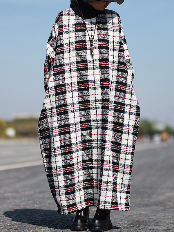 Plaid Print Plus-Sized Woolen Kaftan Dress