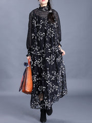Cold and Comfort Floral Lace Embroidered Maxi Dress