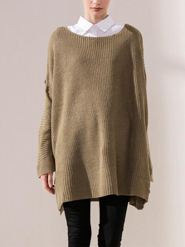 Cora Round Neck Solid Color Knitted Sweater Top with Batwing Sleeves