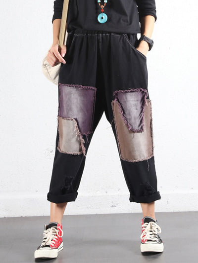 Color Block Patched Cotton Trouser Pants