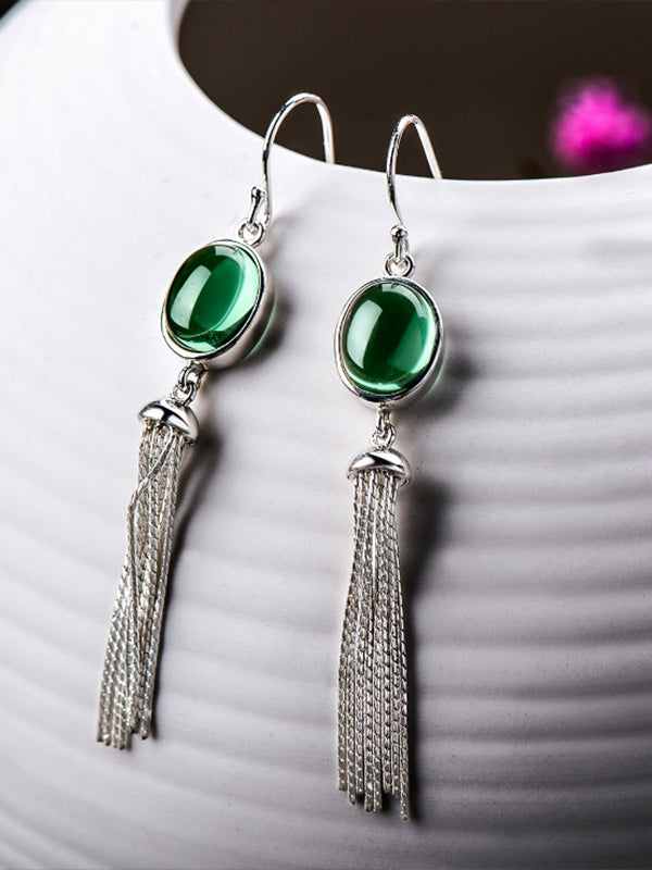 Gertrude Ethnic Green Crystal Jade Earrings with Silver Tassels