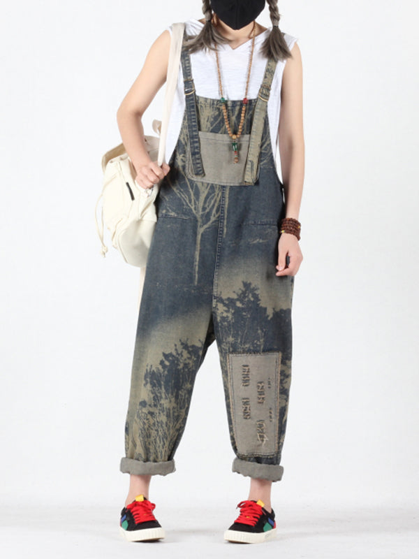 Carmen Ethnic Vintage Prints Baggy Overall Dungarees