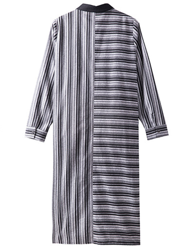 Shawn Irregular Stripes Shirt Dress with Pockets