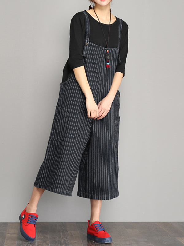 Breton Stripes overall shorts