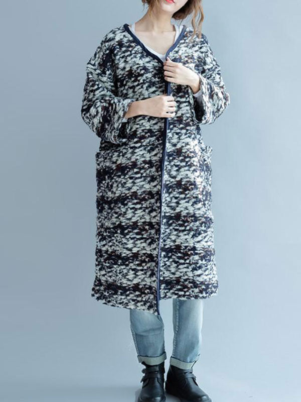 Pattern Thick Knitted Wool Coat