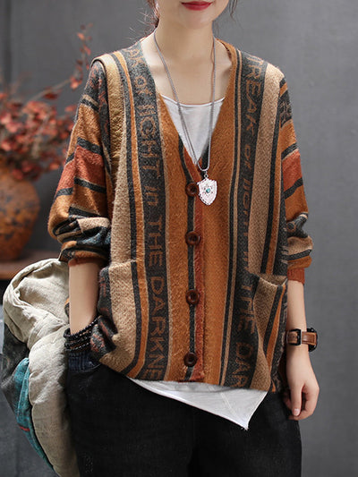 Court Printed V-neck Cardigan Sweater