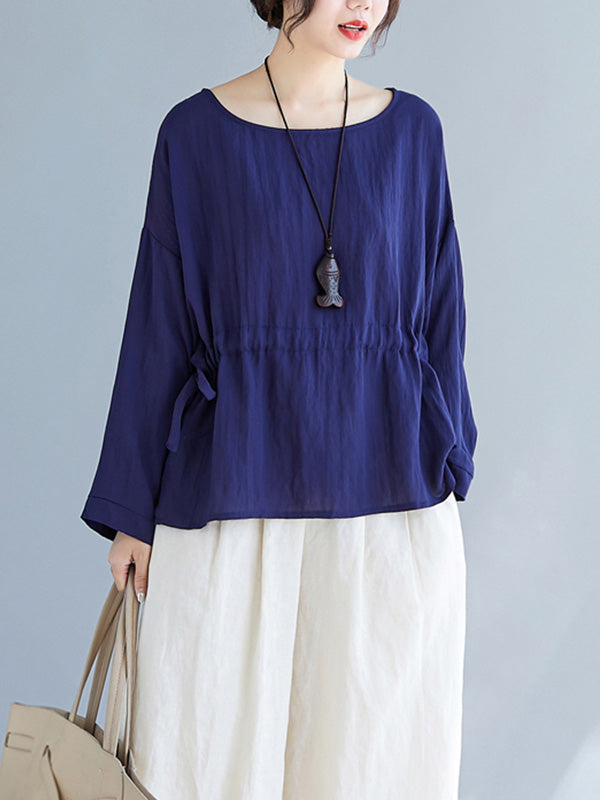 Busy Bee Drawstring Cotton & Linen Tunic Top