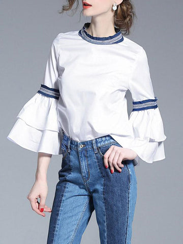 Layered Ruffle Sleeve Detail Top