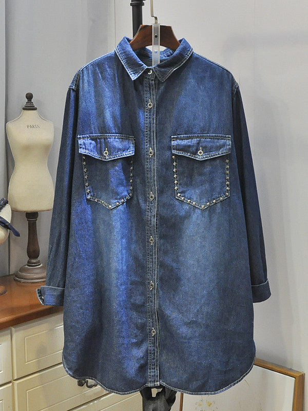 Adela Lapel Polo Collar Rivet Buttoned Denim Cowboy Baggy Shirt