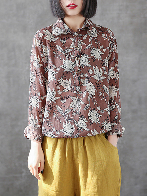 Clarice Vintage Contrasting Multi-color Floral Print Lapel Tops