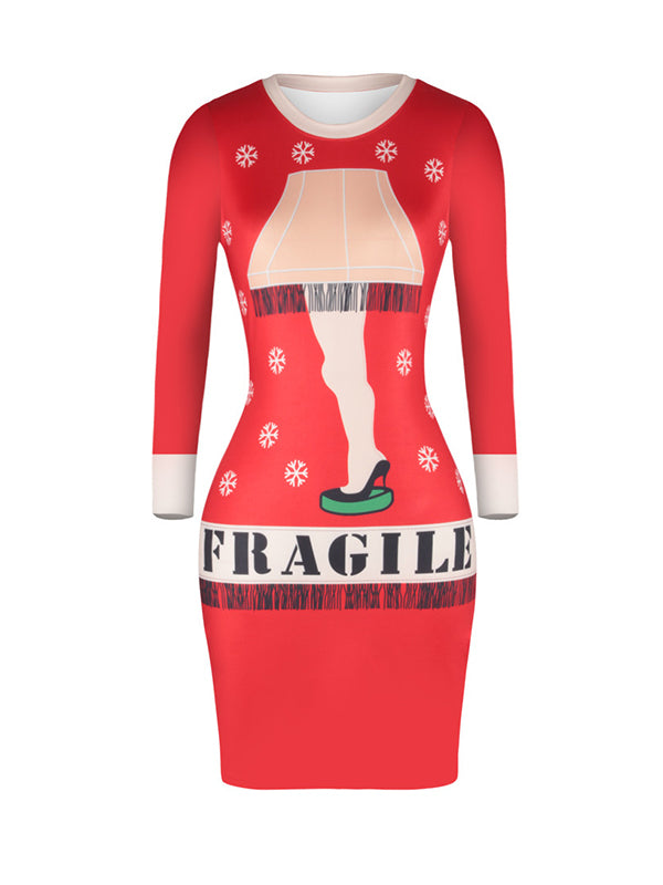 Penny Round Neck Fragile Letters Buttocks Midi Dress
