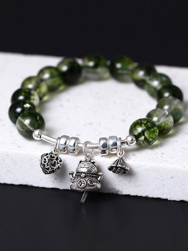Jeanette Ghost Green Crystal Beads Bracelet with Silver Pendants