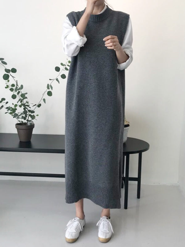 Simple Sleeveless Sweater Dress