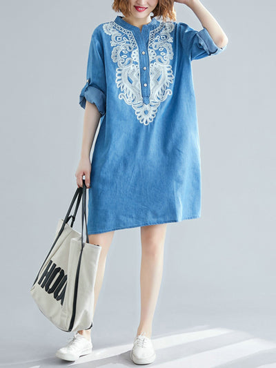 Sany Detail Embroidered Cotton Tunic Top