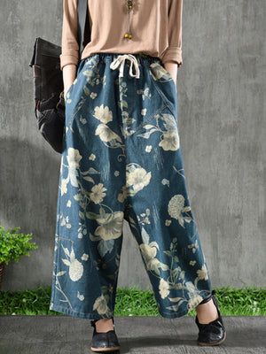 Retro Flowers Wide Leg Pants