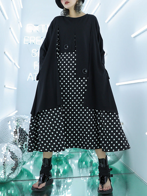 Polka Dots Full-sleeves Midi Dress