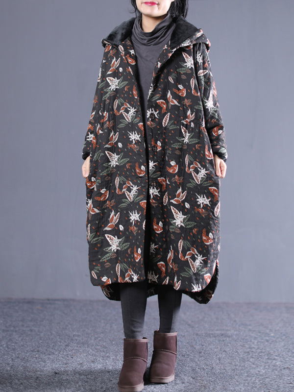 Stella Vintage Hooded Cotton-Padded Overcoat Plants Prints