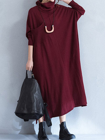 Front Pocket Turtleneck Smock Dress