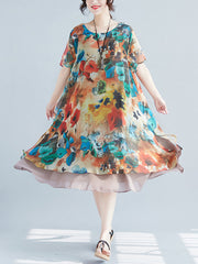 Tons of Love Floral Art Print Smock Dress
