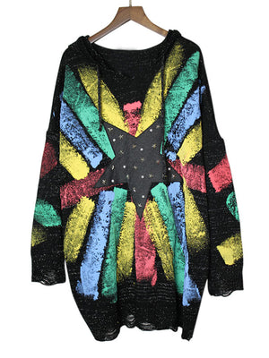 Diane Round Neck Hip Hop Sweater Top with Spray Paint