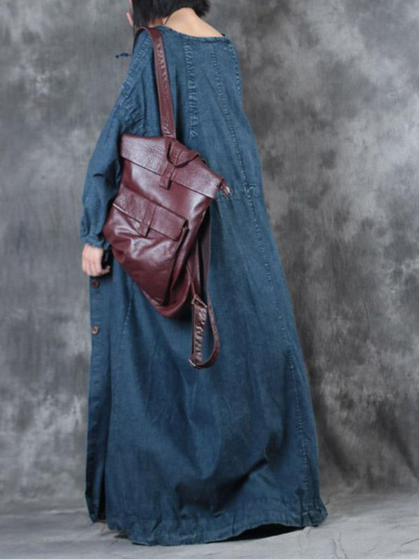 Gathered Sleeve Denim Full Long Smock Dress