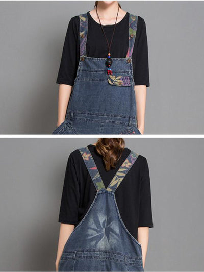 Joy Ethnic Contrast Color Denim Abrasion Overall Dungarees with Floral Prints