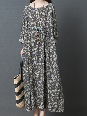 Charlotte Round Neck Ethnic Smock Dress with Shivering Prints