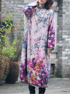 Helen Thicken Cotton Floral Inking A-Line Dress with Buttonhole Loop