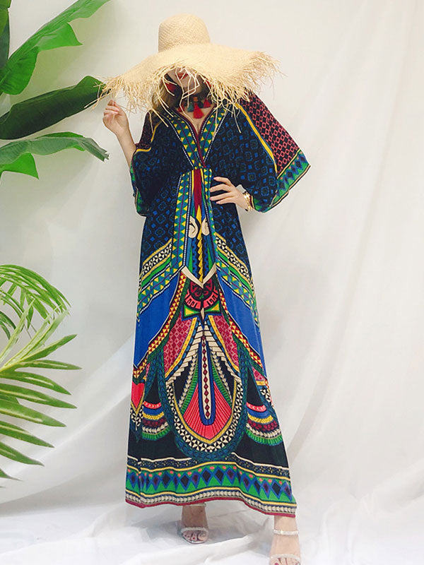 Tara Lee Retro Style Loose Bohemian Maxi Dress