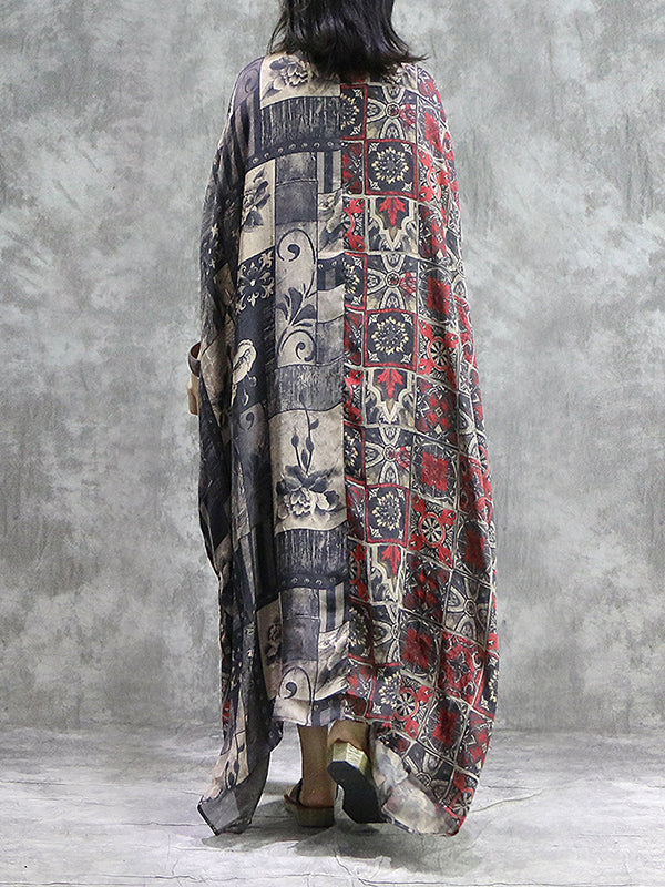 Ancient  Hooks Plus Size Silk Kaftan Dress