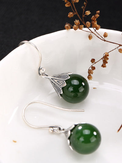 Wilma Vintage Silver Jade Earrings in Spherical Green