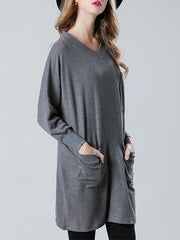 Kay V Neck Solid Color Cotton Knit Top with Pockets