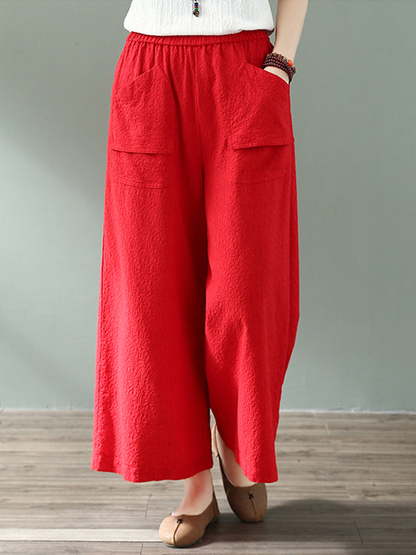 Cool Ambition Front Pocket Cotton & Linen Wide Leg Pant