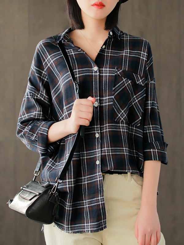 Lily Lapel Vintage Plaid Print Single-breasted Baggy Cotton Shirt