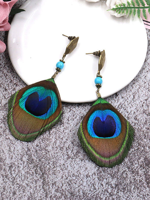 Pristine Addition Peacock Feather Earrings