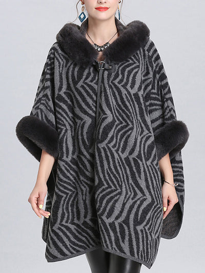 The Running Zebra Print Plus Size Cape Cardigan